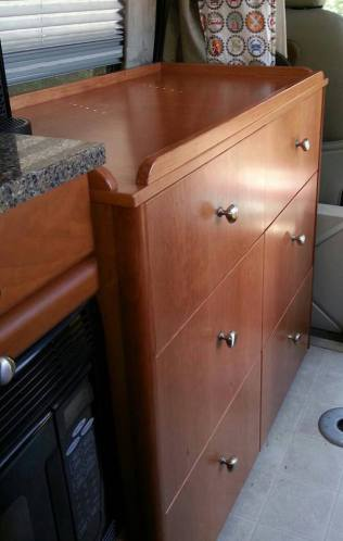 cabinet behind driver